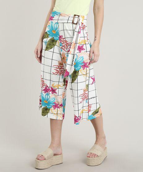 Calca-Feminina-Pantacourt-Texturizada-Estampada-Quadriculada-Floral-com-Faixa-Off-White-9703995-Off_White_1