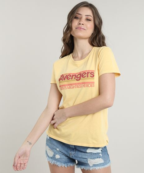 Blusa-Feminina-Os-Vingadores-Manga-Curta-Decote-Redondo-Amarela-9705385-Amarelo_1