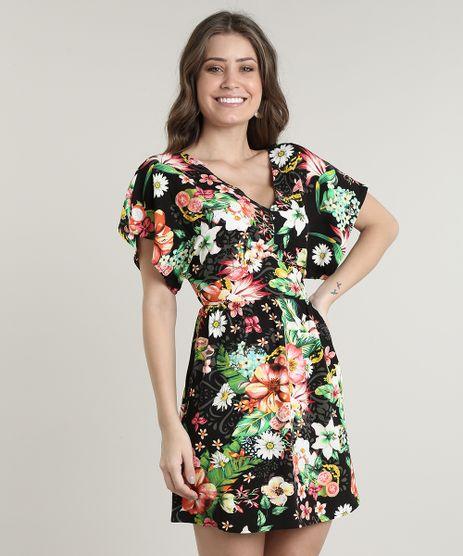 Vestido-Feminino-Curto-Estampado-Floral-com-Faixa-para-Amarrar-Manga-Curta-Preto-9640592-Preto_1