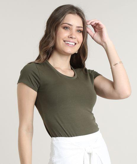 Blusa-Feminina-Basica-Manga-Curta-Decote-Redondo-Verde-Militar-9647678-Verde_Militar_1