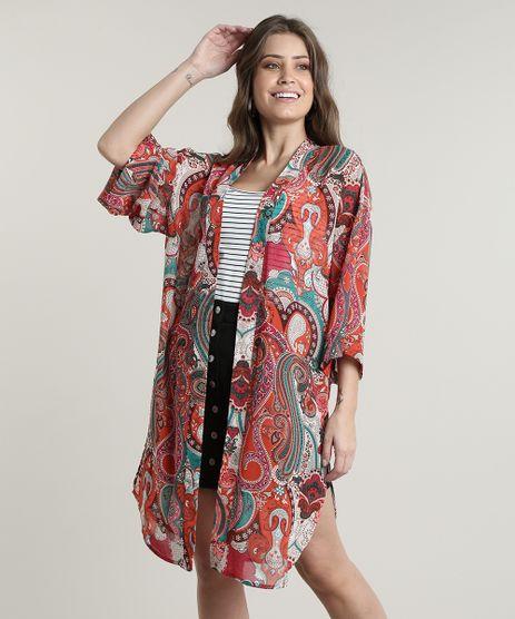 Kimono-Feminino-Longo-Estampado-Paisley-com-Fendas-Laranja-9644278-Laranja_1