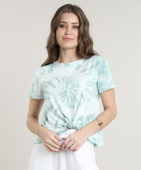 Blusa-Feminina-Basica-Estampada-Tie-Dye-com-No-Manga-Curta-Decote-Redondo-Verde-Claro-9655746-Verde_Claro_1