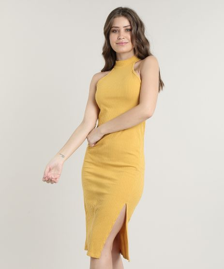 Vestido-Feminino-Midi-Halter-Neck-Canelado-com-Fenda-Gola-Alta-Mostarda-9611887-Mostarda_1