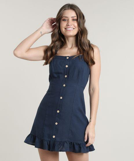 Vestido-Feminino-Curto-com-Linho-e-Botoes-Alca-Media-Azul-Marinho-9670979-Azul_Marinho_1