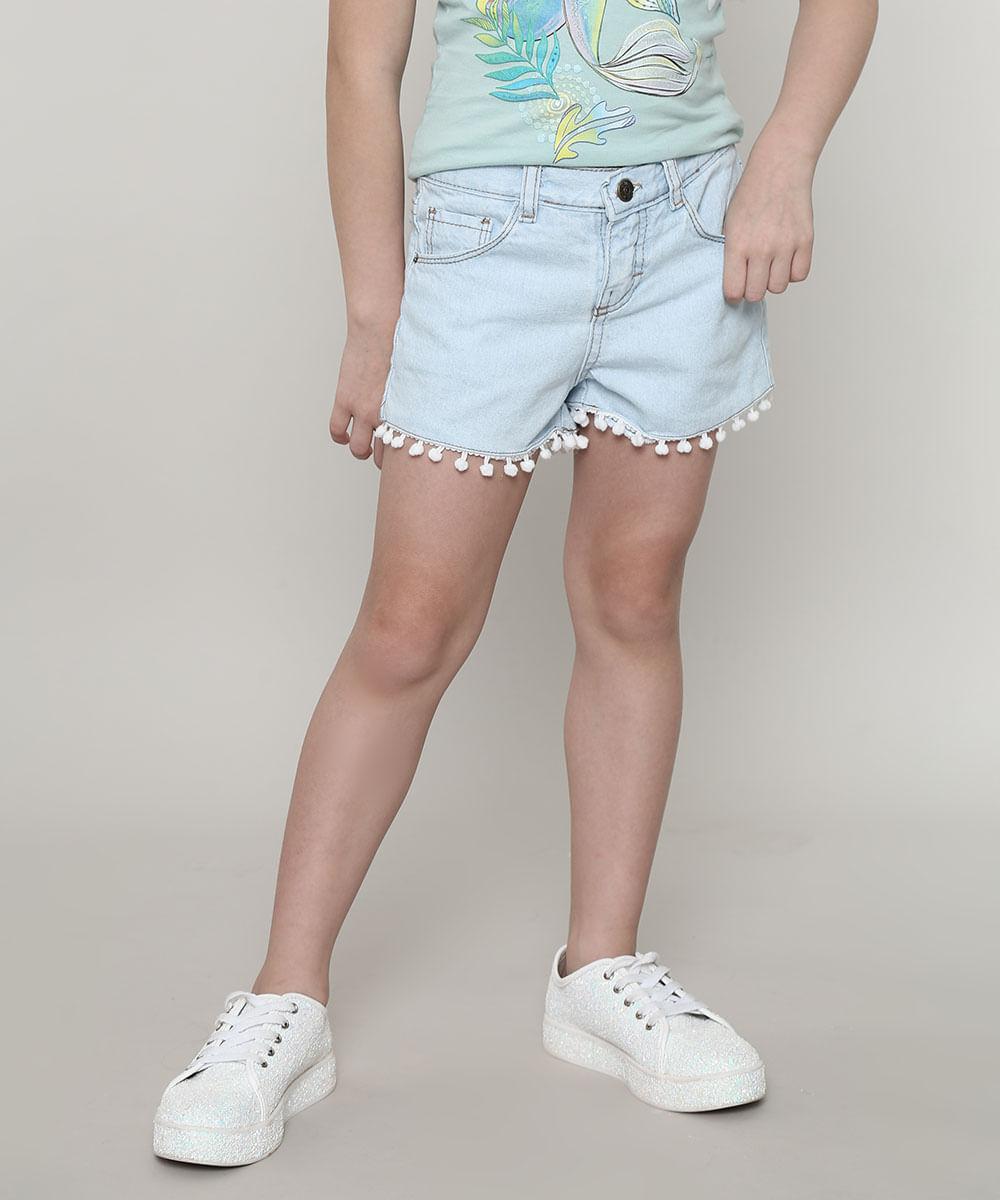 Short Jeans Infantil Barra com Pompom Azul Claro