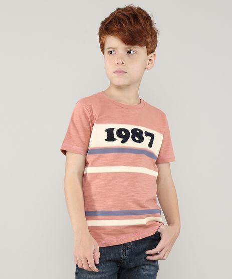 Camiseta-Infantil--1987--com-Listras-Manga-Curta-Gola-Careca-Cobre-9681264-Cobre_1