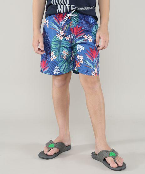 Bermuda-Surf-Infantil-Estampada-Floral-com-Cordao-Azul-9559536-Azul_1