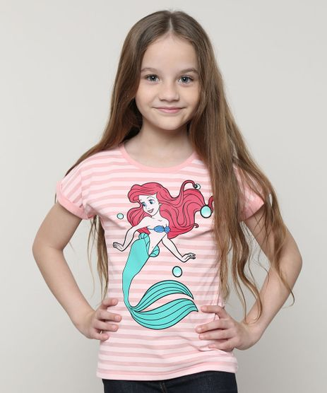 Blusa-Infantil-Pequena-Sereia-Ariel-com-Listras-Manga-Curta-Rosa-9691094-Rosa_1