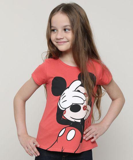 Blusa-Infantil-Mickey-com-Glitter-Manga-Curta-Coral-9691098-Coral_1