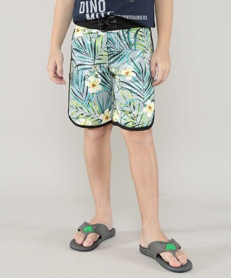 Bermuda-Surf-Infantil-Estampada-de-Folhagens---Cinza-9559558-Cinza_1