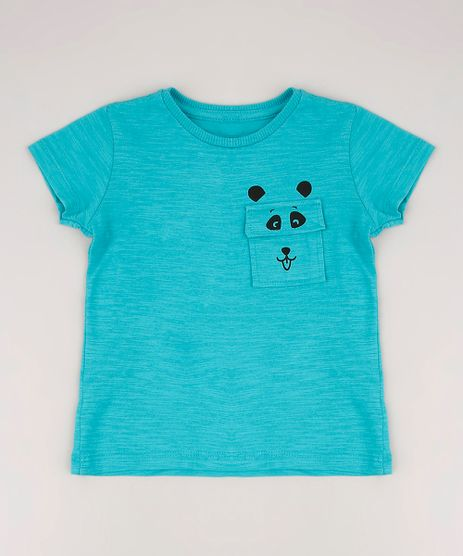 Camiseta-Infantil-com-Bolso-de-Panda-Manga-Curta-Verde-9673254-Verde_1