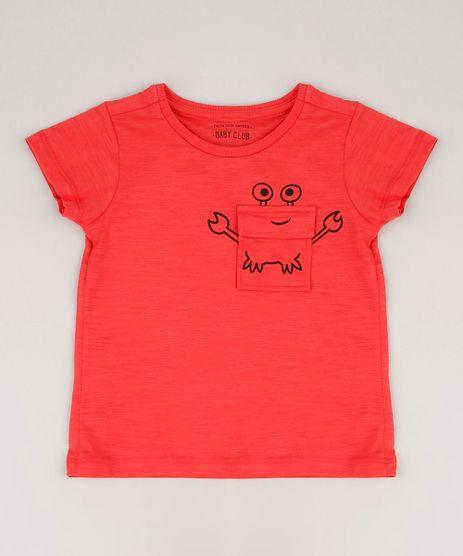 Camiseta-Infantil-com-Bolso-de-Caranguejo-Manga-Curta-Vermelho-9673253-Vermelho_1