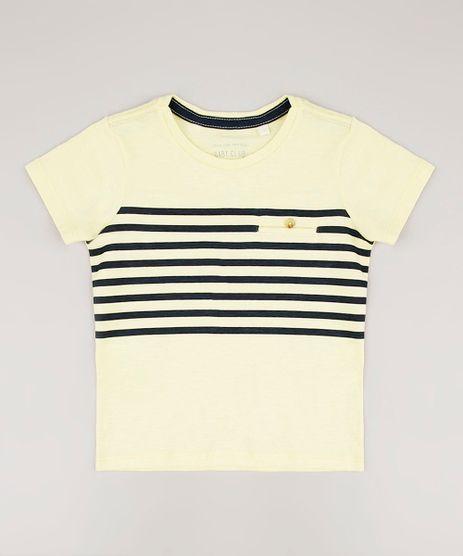 Camiseta-Infantil-com-Bolso-e-Listras-Manga-Curta-Amarela-Claro-9537827-Amarelo_Claro_1