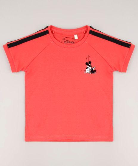 Camiseta-Infantil-Mickey-com-Faixas-Laterais-Manga-Curta-Coral-9672266-Coral_1