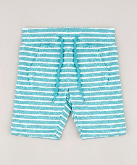 Bermuda-Infantil-Atoalhada-Listrada-com-Bolso-Verde-Agua-9545847-Verde_Agua_1