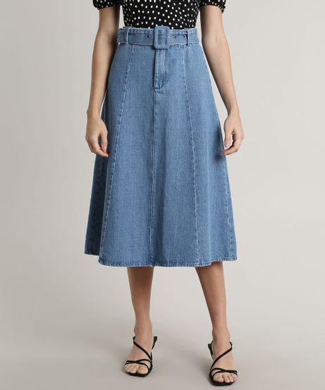 Saia-Jeans-Feminina-Mindset-Midi-com-Cinto-Azul-Claro-9707545-Azul_Claro_1