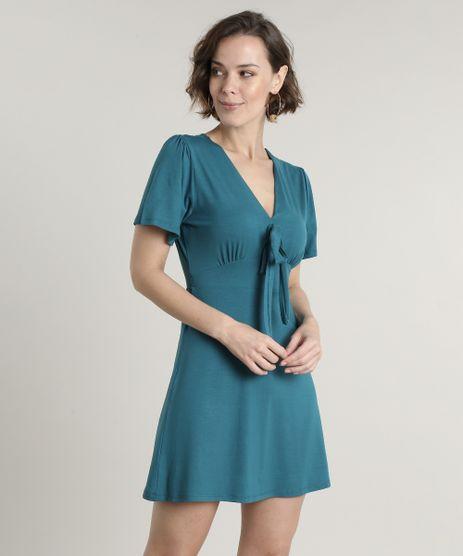 Vestido-Feminino-Curto-com-No-Manga-Curta-Verde-9695354-Verde_1