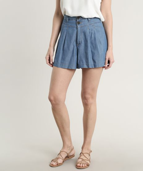 Short-Jeans-Feminino-com-Pregas-e-Bolsos-Azul-Medio-9753905-Azul_Medio_1