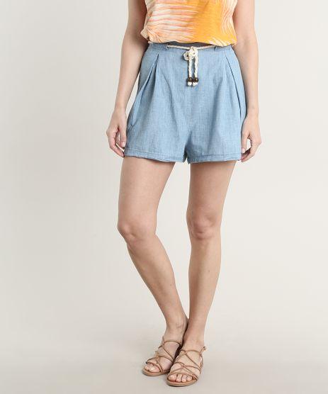 Short-Jeans-Feminino-com-Pregas-e-Cordao-Azul-Claro-9753901-Azul_Claro_1