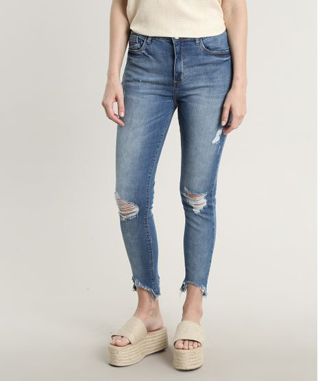 Calca-Jeans-Feminina-Super-Skinny-Destroyed-Azul-Medio-9685708-Azul_Medio_1