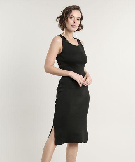 Vestido-Feminino-Midi-em-Trico-com-Fenda-Alcas-Medias-Preto-9620895-Preto_1