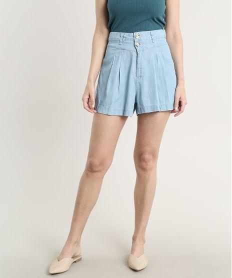Short-Jeans-Feminino-com-Pregas-e-Bolsos-Azul-Claro-9753904-Azul_Claro_1