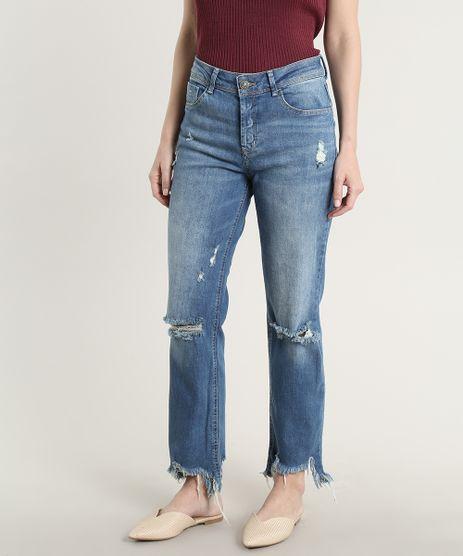 Calca-Jeans-Feminina-Reta-Destroyed-Azul-Medio-9666388-Azul_Medio_1