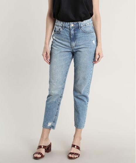 Calca-Jeans-Feminina-Skinny-com-Rasgos-Azul-Medio-9750183-Azul_Medio_1