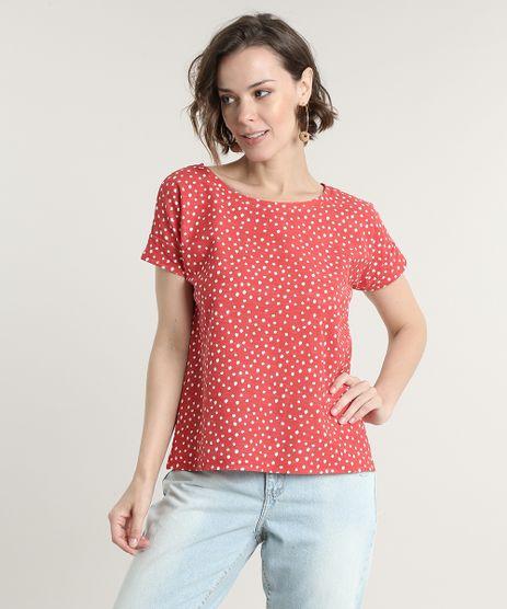 Blusa-Feminina-Estampada-de-Poa-Manga-Curta-Decote-Redondo-Vermelha-9707177-Vermelho_1