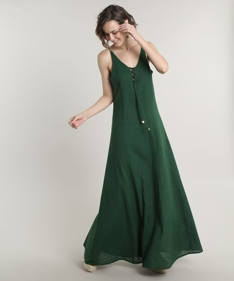Vestido-Feminino-Longo-com-Lace-Up-Alcas-Finas-Verde-9645432-Verde_1