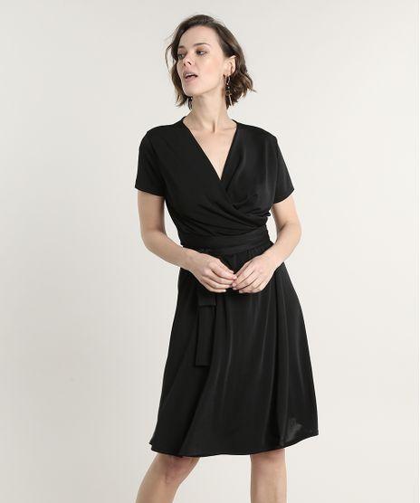 Vestido-Feminino-Curto-Transpassado-com-Faixa-para-Amarrar-Manga-Curta-Preto-9693042-Preto_1