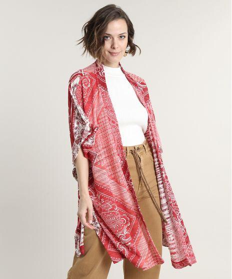 Kimono-Feminino-Estampado-de-Bandana-Manga-Curta-Vermelho-9700075-Vermelho_1