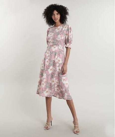 Vestido-Feminino-Midi-Mindset-Estampado-Floral-com-Vazado-nas-Costas-Manga-Curta-Rosa-Claro-9792475-Rosa_Claro_1