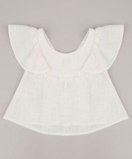 Blusa-Infantil-Texturizada-com-Vazado-e-Babado-Manga-Curta-Off-White-9584023-Off_White_1