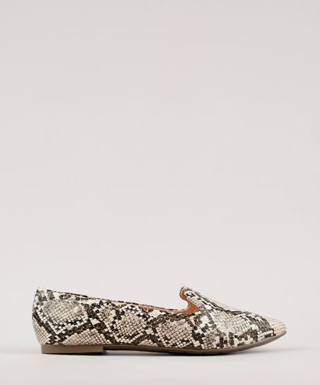 Sapatilha-Feminina-Via-Uno-All-Day-Confortavel-Bico-Fino-Estampada-Texturizada-Animal-Print-de-Cobra-Bege-9675408-Bege_1