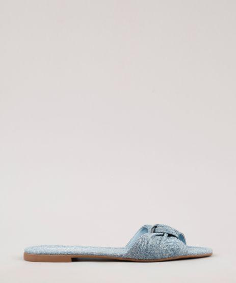 Rasteira-Jeans-Feminina-Oneself-com-Laco-Azul-Medio-9709345-Azul_Medio_1