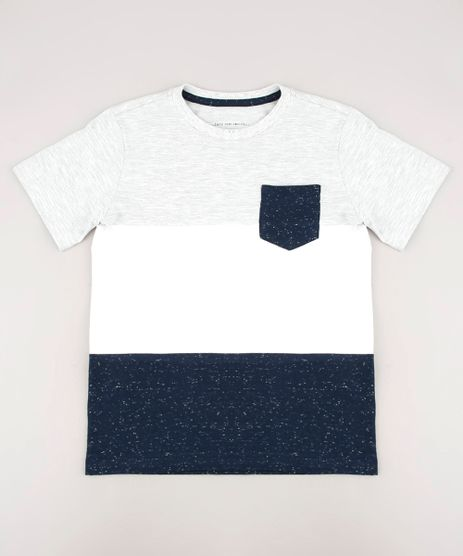 Camiseta-Infantil-Listrada-com-Bolso-Botone-Manga-Curta-Cinza-Mescla-Claro-9440092-Cinza_Mescla_Claro_1