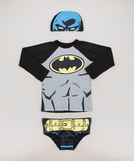 Conjunto-de-Camiseta-de-Praia-Infantil-Batman---Sunga---Touca-Preta-9667867-Preto_1