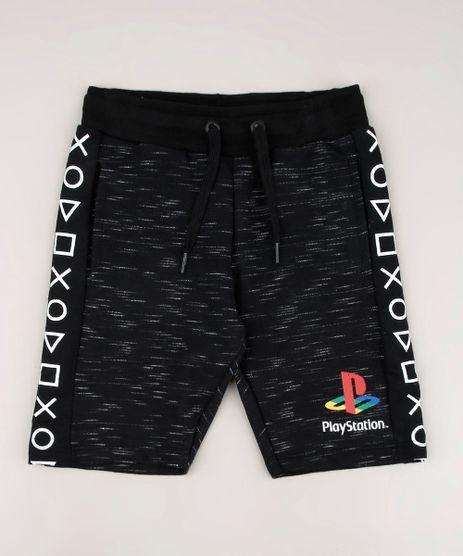 Bermuda-Infantil-PlayStation-em-Moletom-com-Bolsos-Preta-9674517-Preto_1