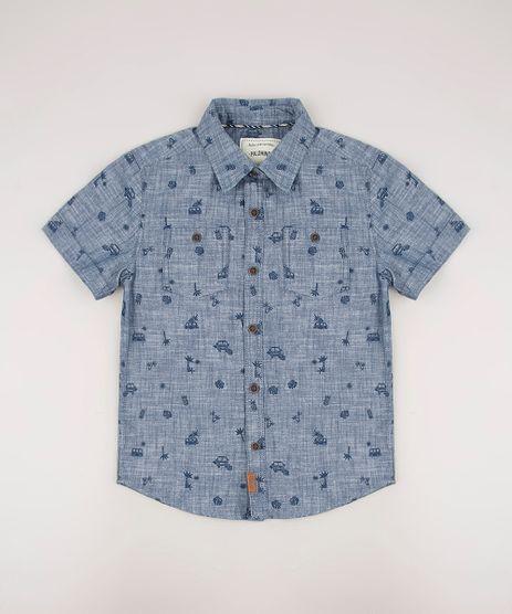 Camisa-Jeans-Infantil-Estampada-Mini-Print-Carros-com-Bolsos-Manga-Curta-Azul-Medio-9545253-Azul_Medio_1