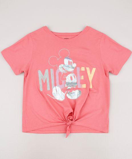 Blusa-Infantil-Mickey-com-No-Manga-Curta-Coral-9668937-Coral_1