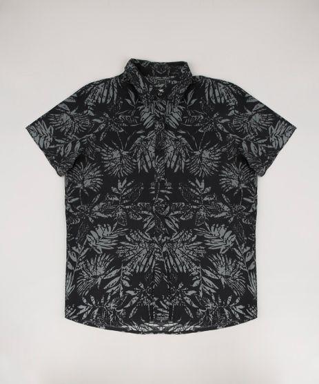 Camisa-Infantil-Estampada-de-Folhagem-Manga-Curta-Preta-9660660-Preto_1