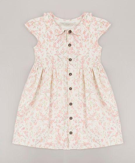 Vestido-Infantil-Estampado-Floral-com-Linho-e-Botoes-Manga-Curta-Off-White-9708693-Off_White_1