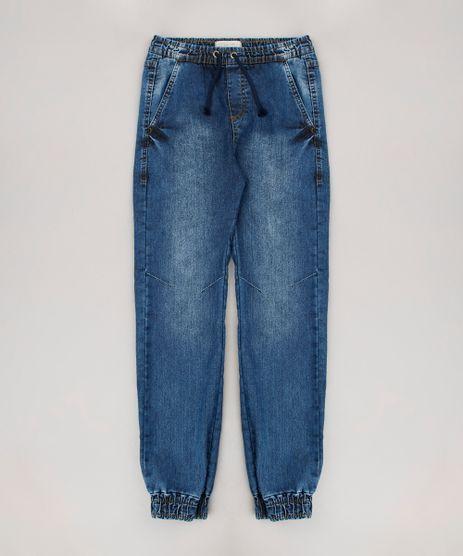 Calca-Jeans-Infantil-Jogger-com-Cordao-Azul-Medio-9658612-Azul_Medio_1