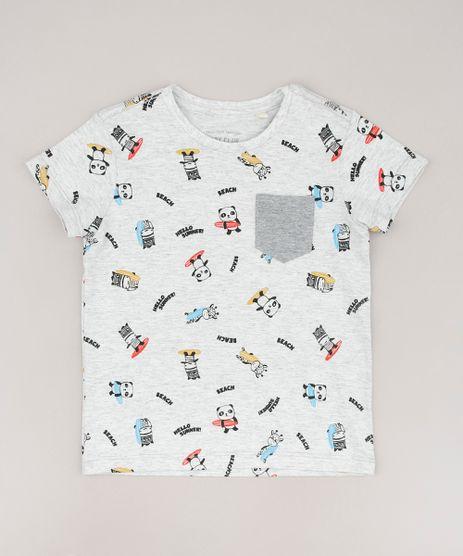Camiseta-Infantil-Bichinhos-Surfistas-com-Bolso-Manga-Curta--Cinza-Mescla-Claro-9660060-Cinza_Mescla_Claro_1
