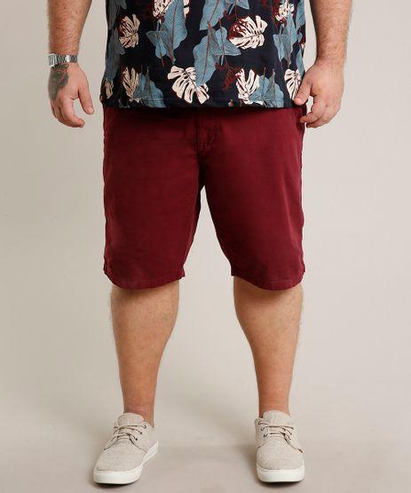 Bermuda-de-Sarja-Masculina-Plus-Size-Reta-com-Bolsos-Vinho-9435482-Vinho_1_1