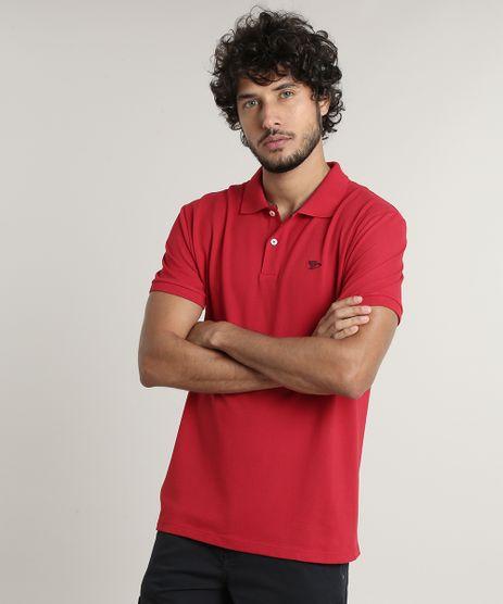 Polo-Masculina-Basica-em-Piquet-Manga-Curta-Vermelha-8553376-Vermelho_1