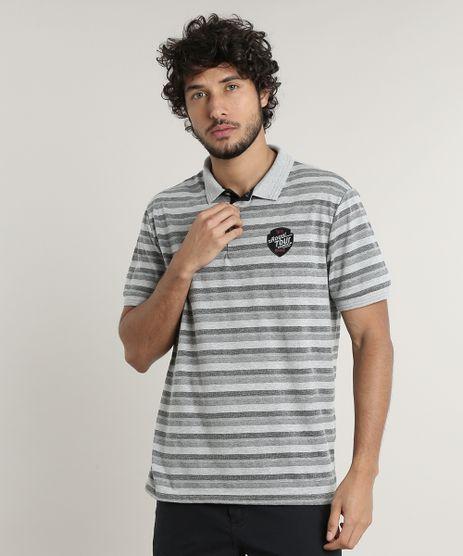 Polo-Masculina-Comfort-Fit-Listrada-Manga-Curta-Cinza-Mescla-9634288-Cinza_Mescla_1