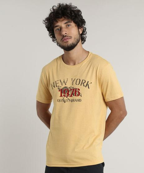 Camiseta-Masculina-Comfort-Fit-New-York-Manga-Curta-Gola-Careca-Mostarda-9759661-Mostarda_1