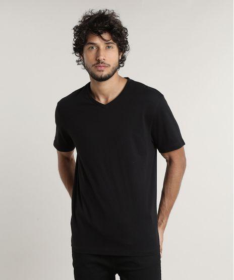 Camiseta-Masculina-Basica-Manga-Curta-Gola-V-Preta-9597169-Preto_1